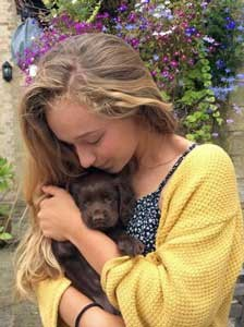 Tiny chocolate cocker spaniel puppy in young girl's arms