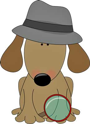 Dog with magnifying glass, looking for clues of canine conjunctivitis