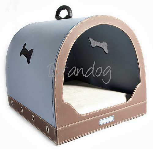 Designer dog beds or carriers, pale blue and fawn, excellent quality