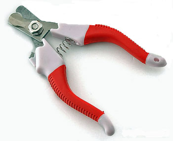 Clipper for dog nails, red handle