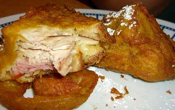 Deep fried chicken, ham and cheese sandwich - not to be fed to your dog!