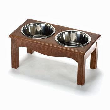Stainless steel dog bowls, elevated and housed in a wooden casing