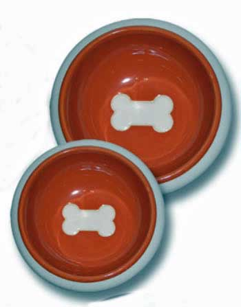 Puppy food bowls with bone shape in bottom
