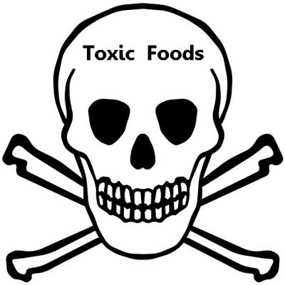 Scull and cross bones, black and white, with a 'toxic foods' warning.